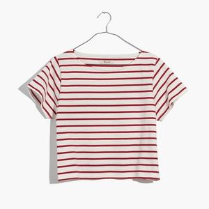 Madewell red stripe boxy boat neck tee